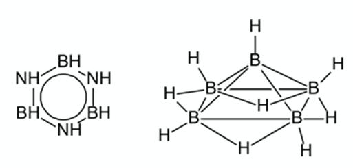 Структурные формулы боразола (аналог бензола) и пентаборана